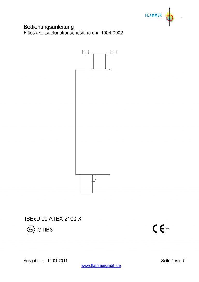 Bedienungsanleitung Flüssigkeitsdetonationsendsicherung 1004-0002