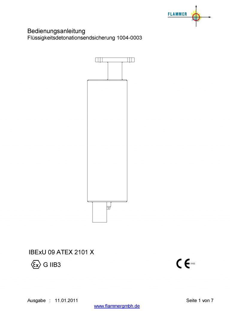 Bedienungsanleitung Flüssigkeitsdetonationsendsicherung 1004-0003