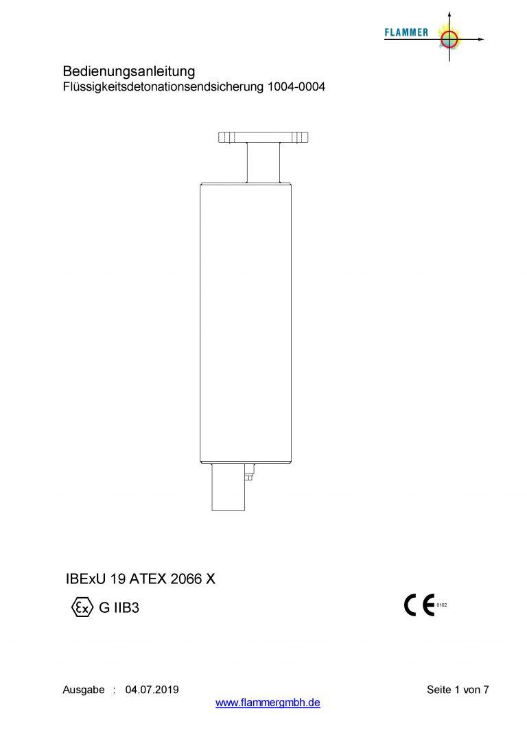 Bedienungsanleitung Flüssigkeitsdetonationsendsicherung 1004-0004
