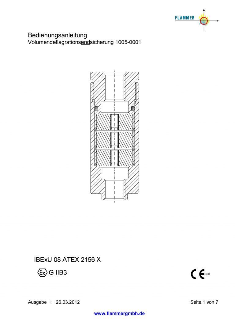 Bedienungsanleitung Volumendeflagrationsendsicherung 1005-0001