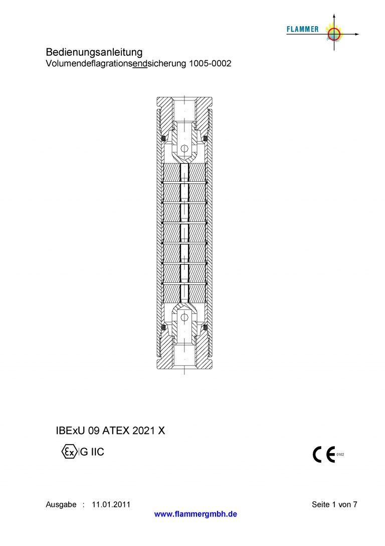 Bedienungsanleitung Volumendeflagrationsendsicherung 1005-0002