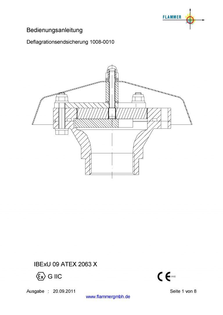 Bedienungsanleitung Deflagrationsendsicherung 1008-0010