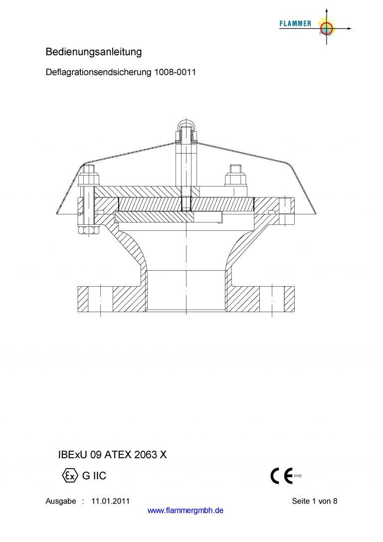 Bedienungsanleitung Deflagrationsendsicherung 1008-0011
