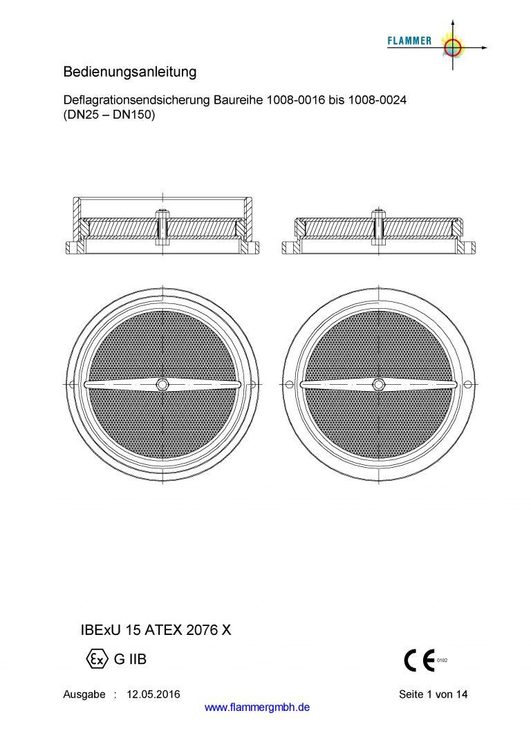 Bedienungsanleitung Detonationsendsicherung Baureihe 1008-0016 bis 1008-0024 DN25 bis DN150