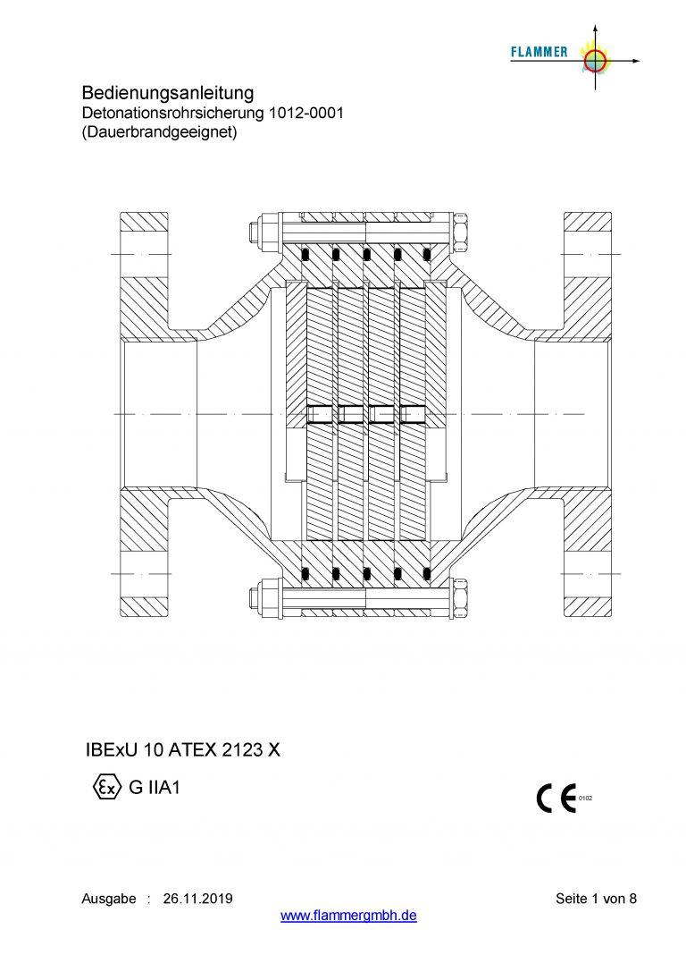 Bedienungsanleitung Detonationsrohrsicherung 1012-0001 Dauerbrand geeignet