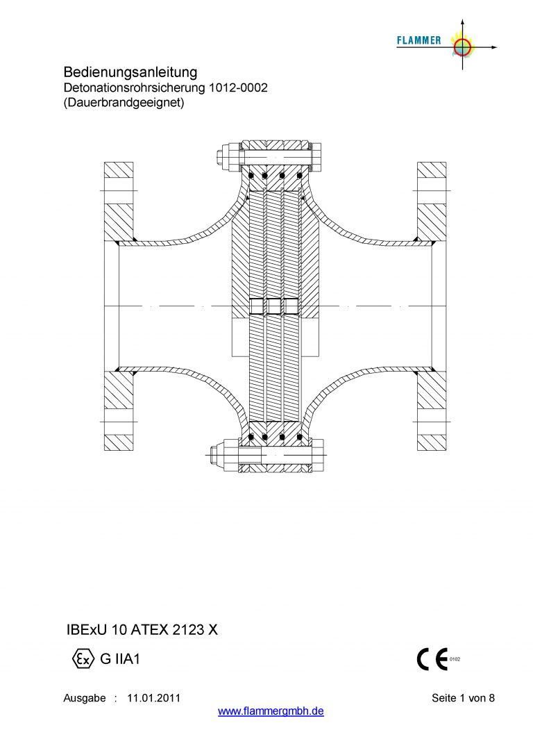 Bedienungsanleitung Detonationsrohrsicherung 1012-0002 Dauerbrand geeignet