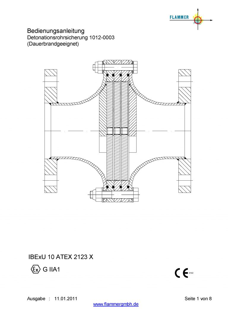Bedienungsanleitung Detonationsrohrsicherung 1012-0003 Dauerbrand geeignet