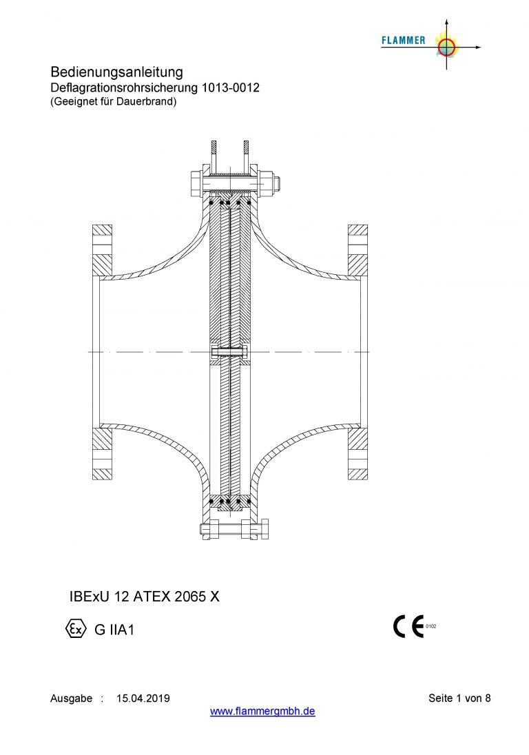 Bedienungsanleitung Deflagrationsrohrsicherung 1013-0012 Dauerbrand geeignet