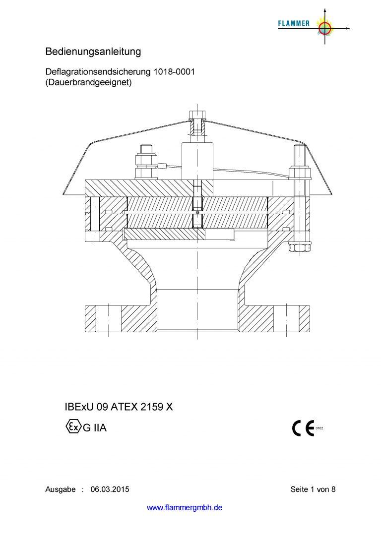 Bedienungsanleitung Deflagrationsrohrsicherung 1018-0001 Dauerbrand geeignet
