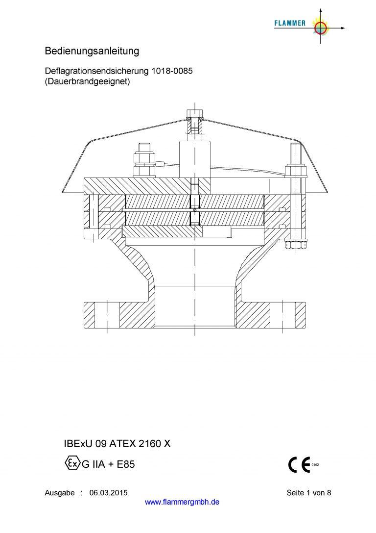 Bedienungsanleitung Deflagrationsrohrsicherung 1018-0085 Dauerbrand geeignet