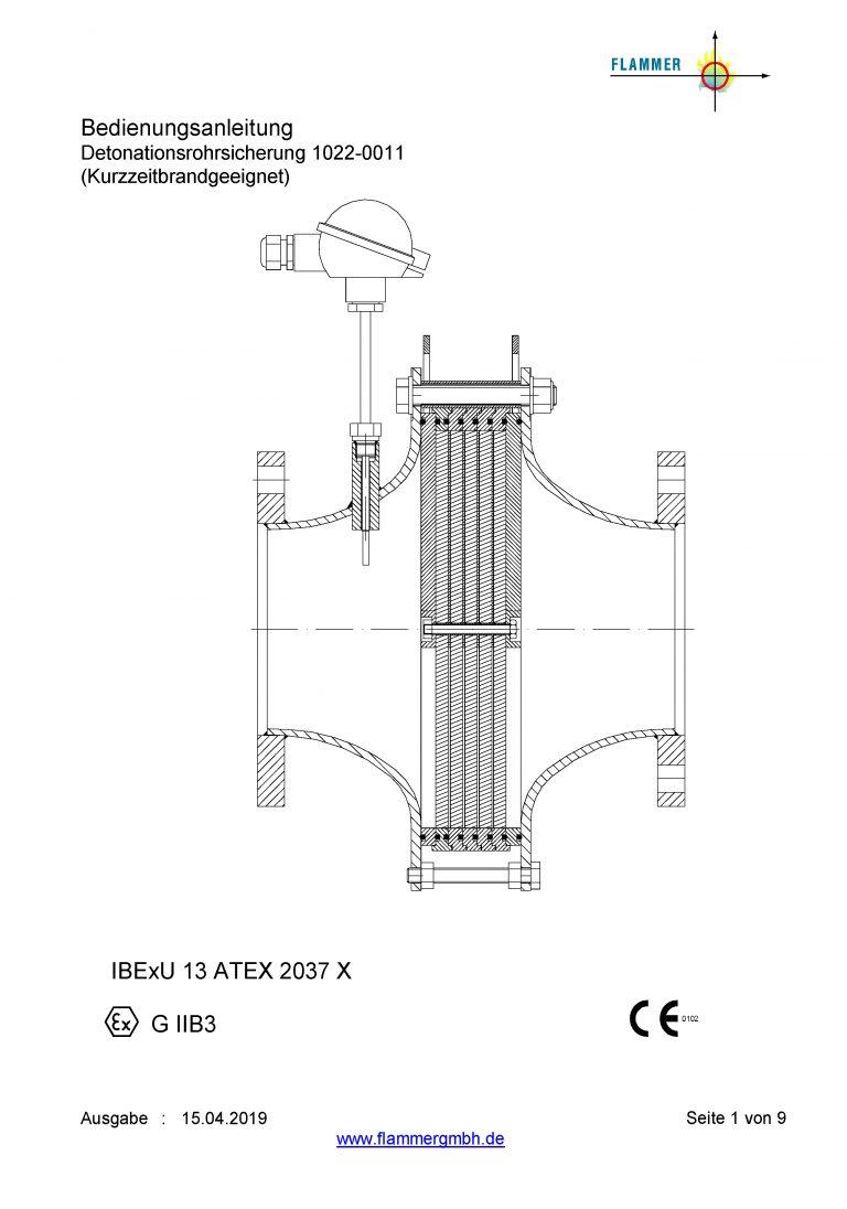 Bedienungsanleitung Detonationsrohrsicherung 1022-0011 Kurzzeitbrandgeeignet