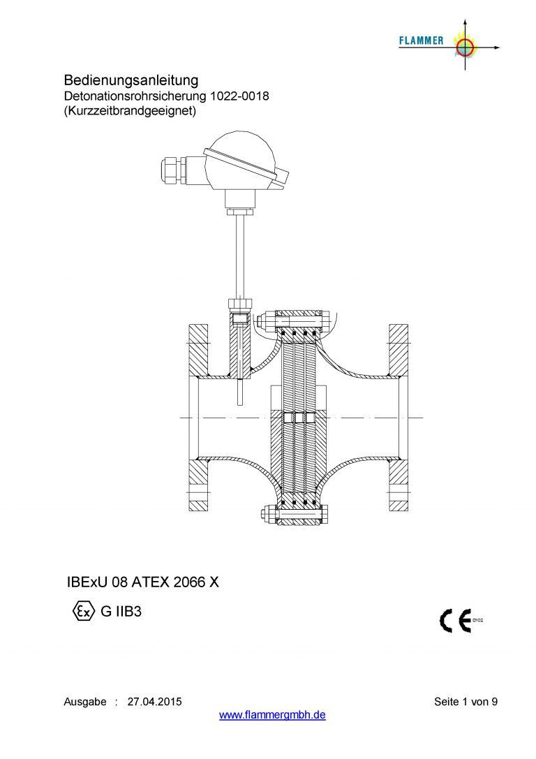 Bedienungsanleitung Detonationsrohrsicherung 1022-0018 Kurzzeitbrandgeeignet