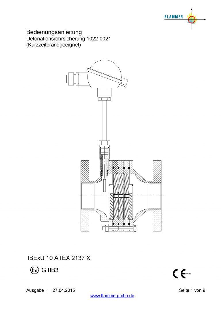 Bedienungsanleitung Detonationsrohrsicherung 1022-0021 Kurzzeitbrandgeeignet