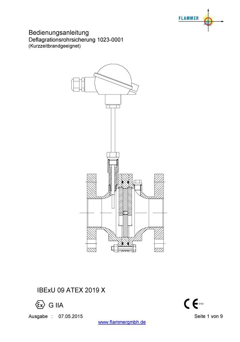 Bedienungsanleitung Deflagrationsrohrsicherung 1023-0001 Kurzzeitbrandgeeignet