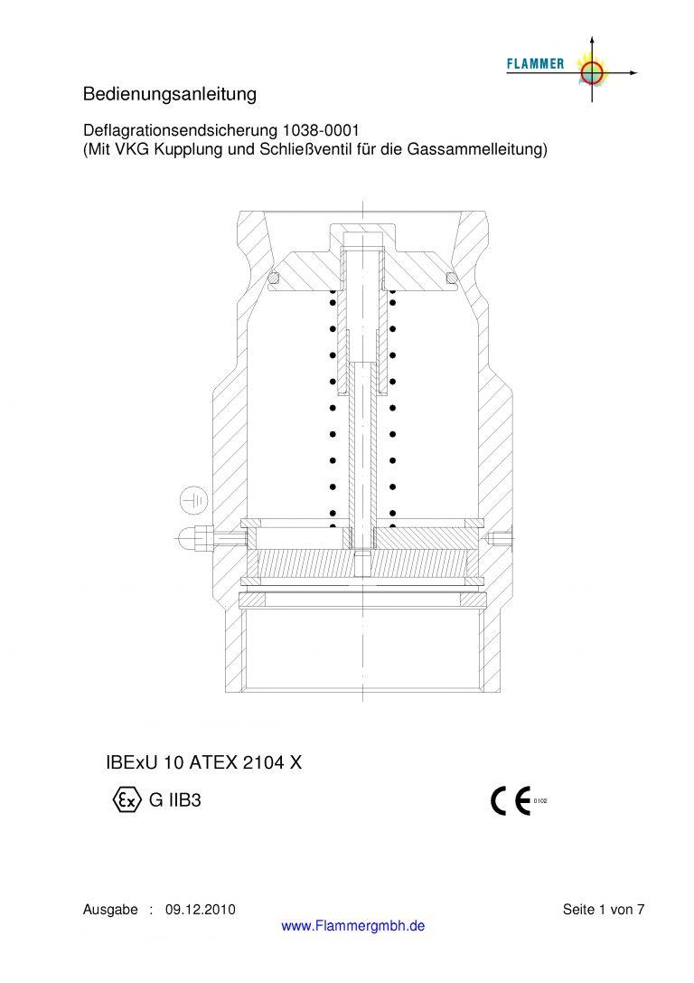 Bedienungsanleitung Deflagrationsendsicherung 1038-0001 mit VKG Kupplung und Schließventil für die Gassammelleitung