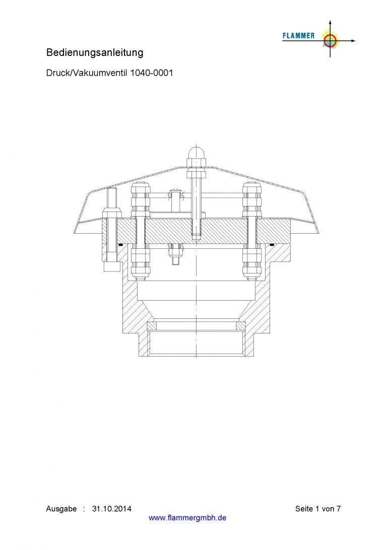 Bedienungsanleitung Druckventil / Vakuumventil 1040-0001