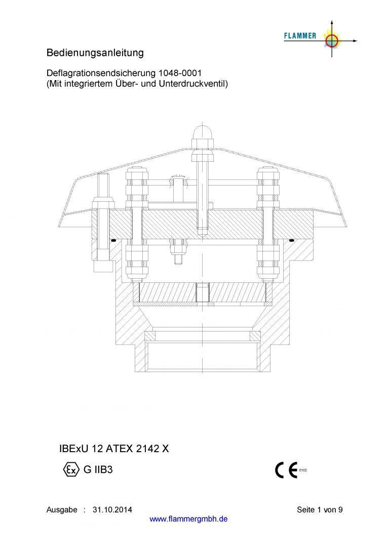 Bedienungsanleitung Deflagrationsendsicherung 1038-0001 mit integriertem Überdruckventil und Unterdruckventil