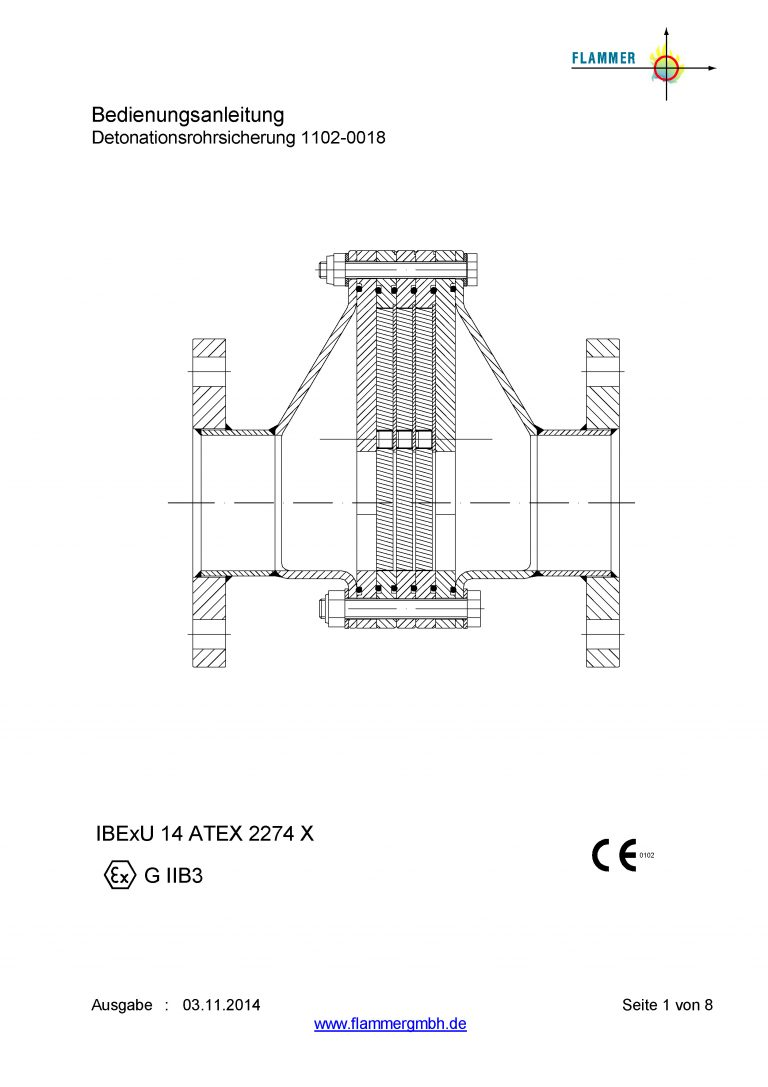 Bedienungsanleitung Detonationsrohrsicherung 1102-0018