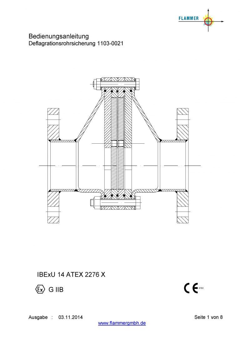 Bedienungsanleitung Detonationsrohrsicherung 1103-0021