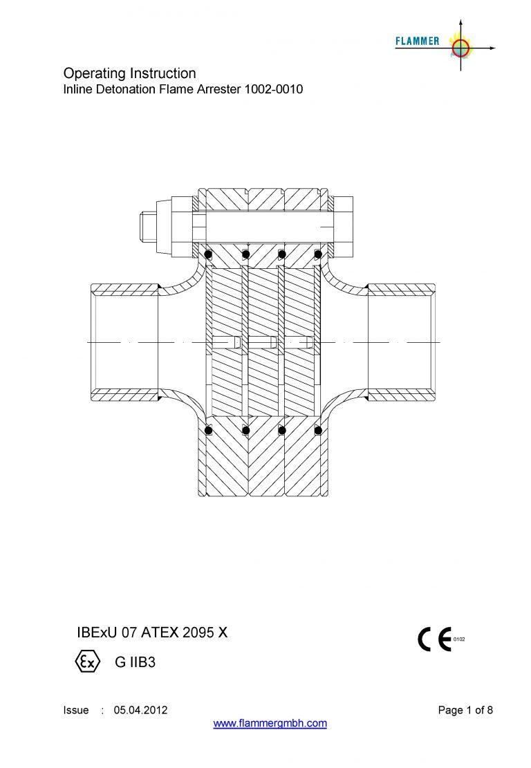Operating Instruction Inline Detonation Flame Arrester 1002-0010