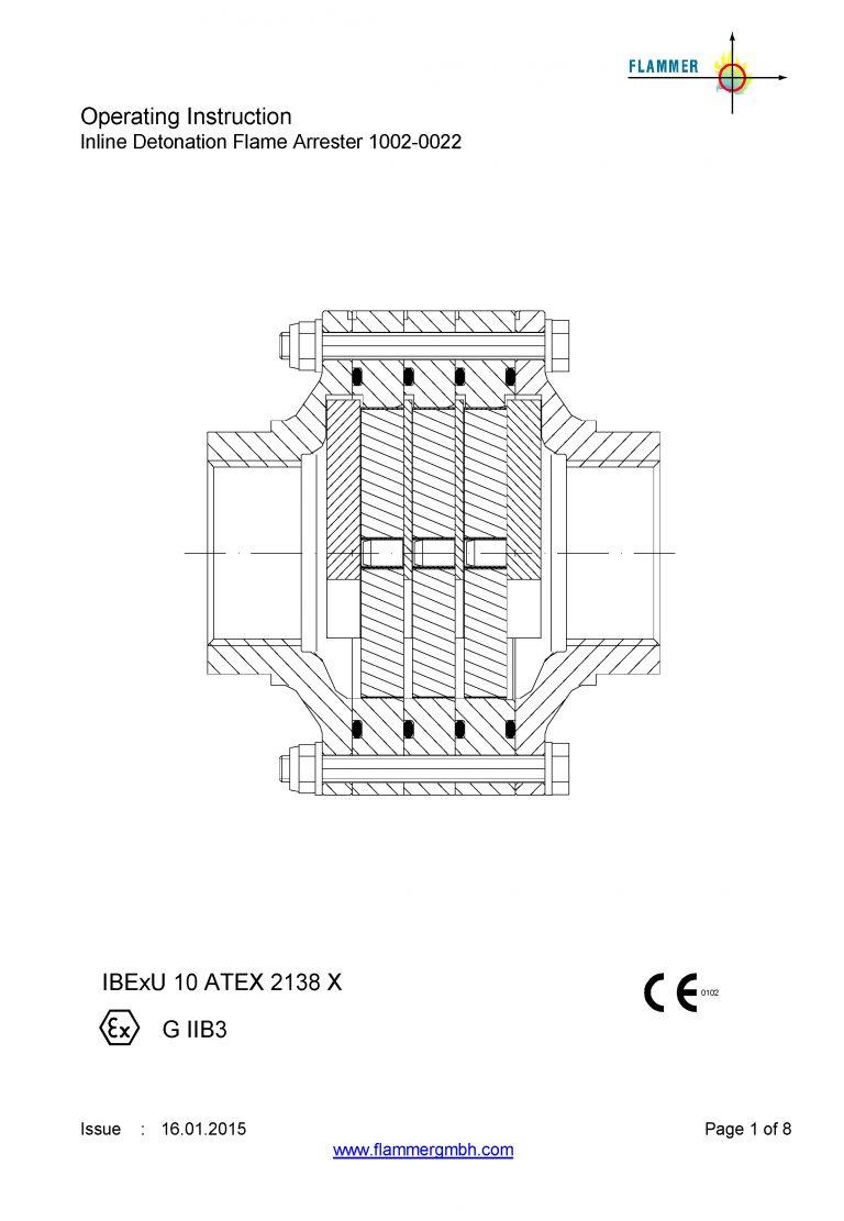 Operating Instruction Inline Detonation Flame Arrester 1002-0022