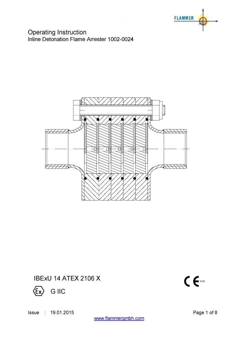 Operating Instruction Inline Detonation Flame Arrester 1002-0024