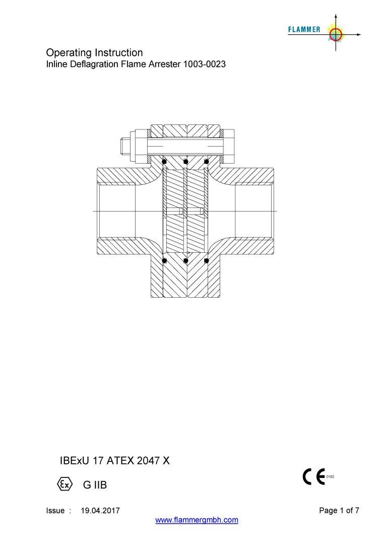 Operating Instruction Inline Deflagration Flame Arrester 1003-0023