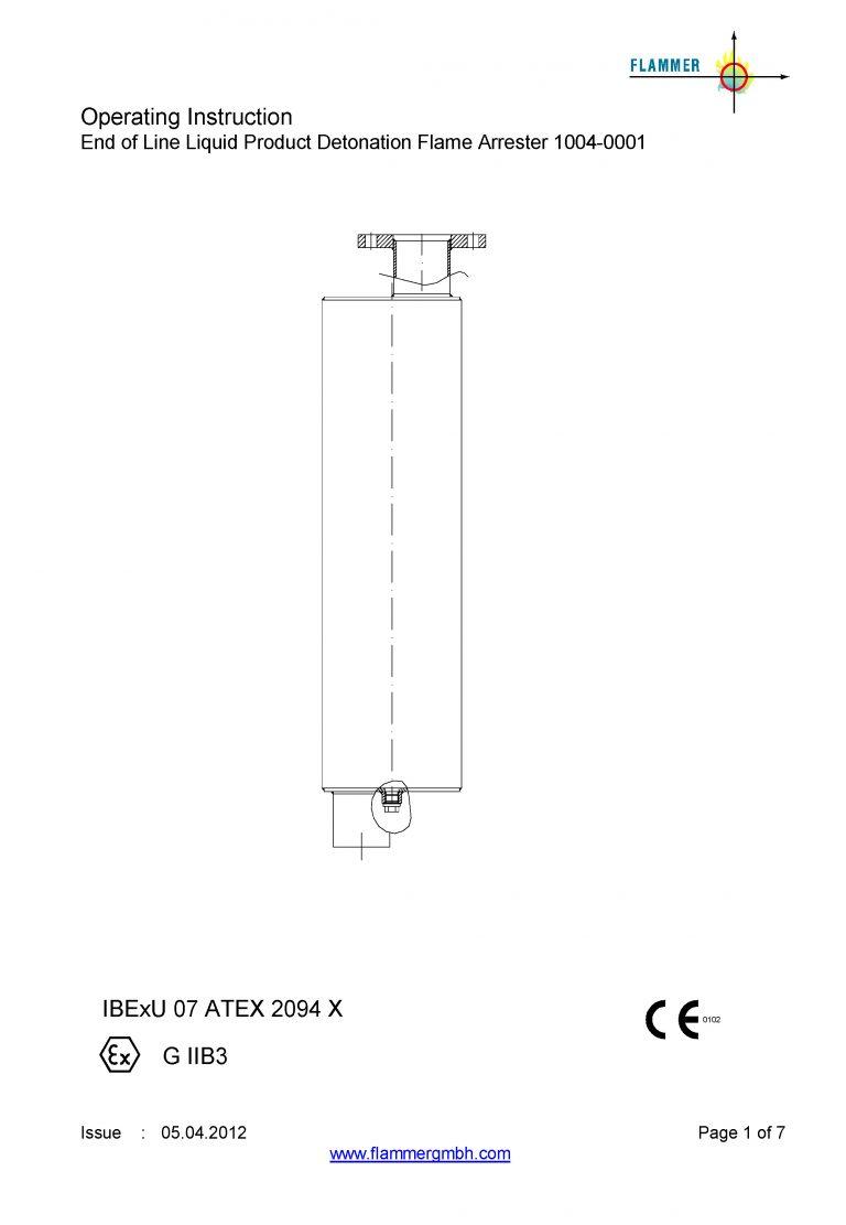 Operating Instruction End of Line Liquid Product Detonation Flame Arrester 1004-0001