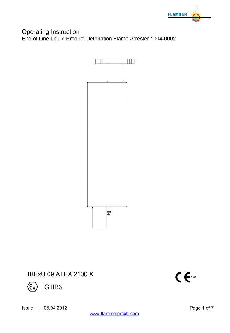 Operating Instruction End of Line Liquid Product Detonation Flame Arrester 1004-0002
