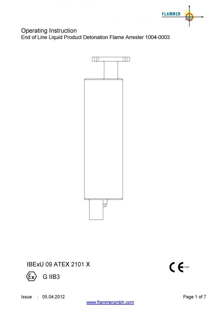 Operating Instruction End of Line Liquid Product Detonation Flame Arrester 1004-0003