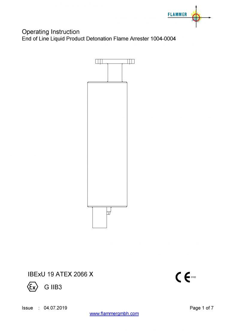 Operating Instruction End of Line Liquid Product Detonation Flame Arrester 1004-0004