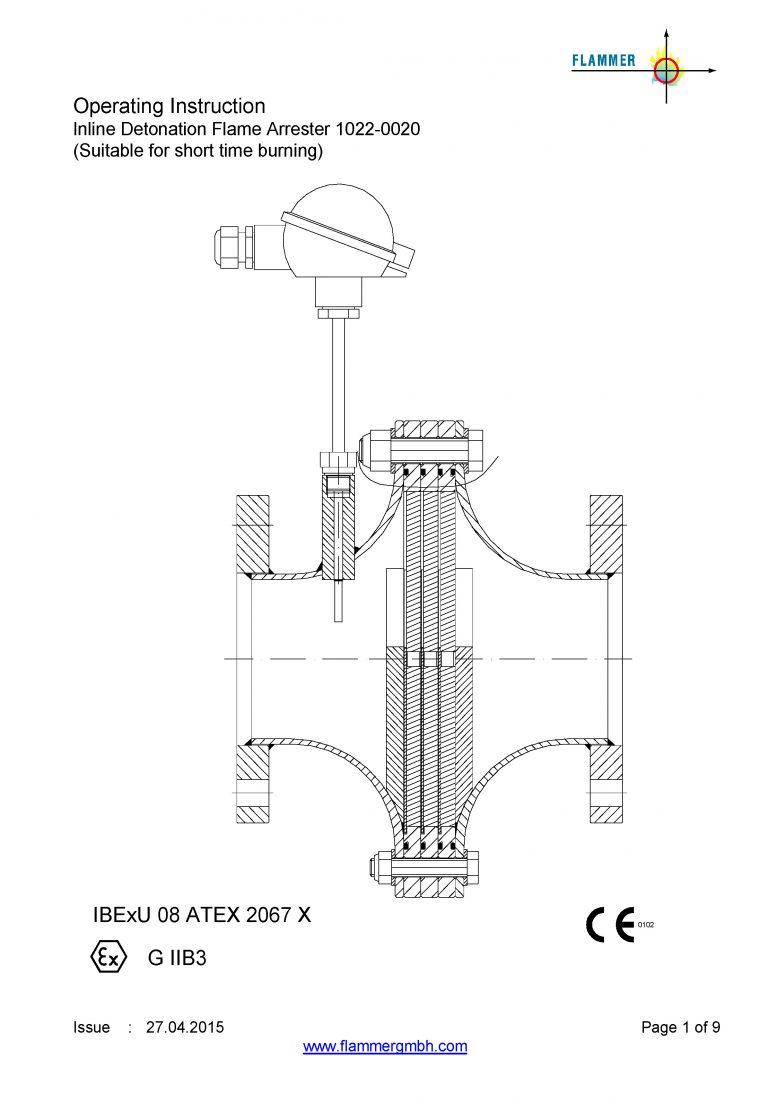 Operating Instruction Inline Detonation Flame Arrester 1022-0020