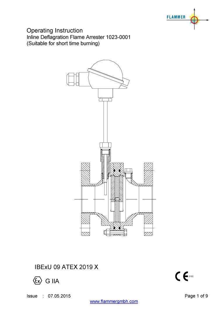 Operating Instruction Inline Deflagration Flame Arrester 1023-0001