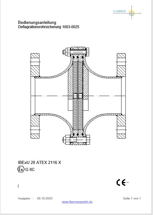 Bedienungsanleitung Deflagrationsrohrsicherung 1003-0025