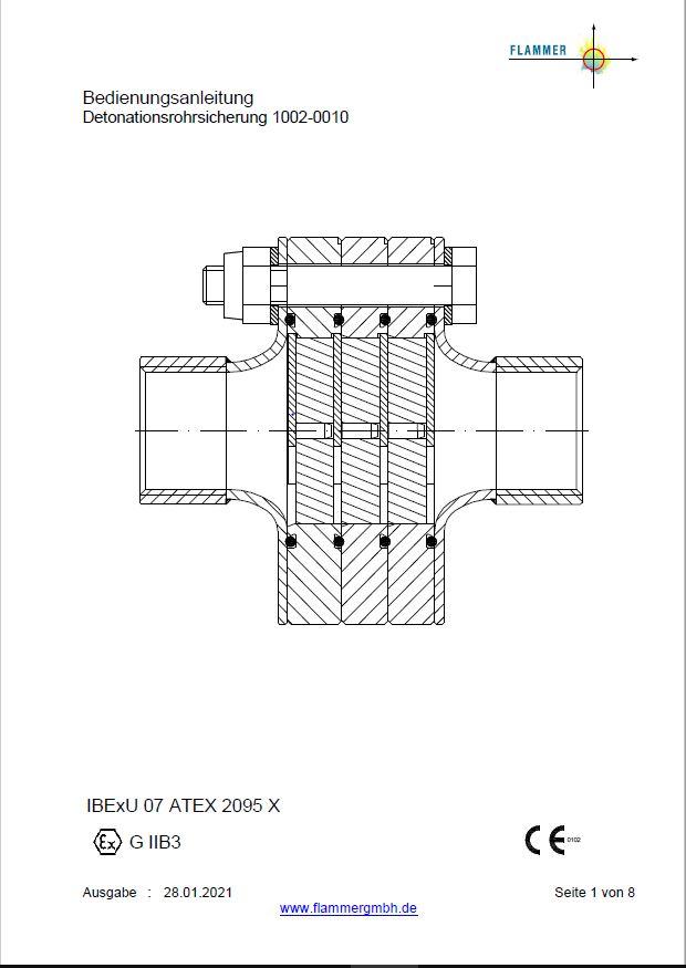 Bedienungsanleitung der Detonationsrohrsicherung 1002-0010